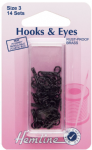 H401.3 Hooks and Eyes: Black - Size 3